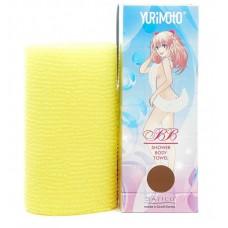 Satico Yurimoto Мочалка массажная для глубокого очищения кожи и профилактики целлюлита Цвет желтый 28*100 см