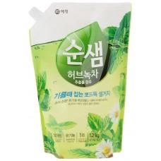 Soonsaem Средство для мытья посуды Зеленый чай Natural green tea (дой-пак) 1,2 л