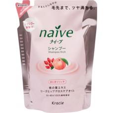 Kracie Шампунь ЗАПАСКА для сухих волос восстанавливающий экстракт персика и масло шиповника Naive 400 мл