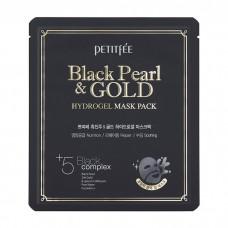 Petitfee Гидрогелевая маска для лица с чёрной жемчужной пудрой и золотом Black Pearl Gold Hydrogel